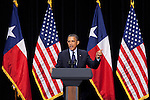 President Barack Obama addresses a crowd at a campaign fundraiser at the Henry B Gonzalez Convention Center in San Antonio, Texas. July 17, 2012