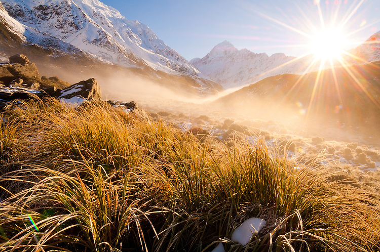 Sunrise on the Hooker Valley track to Hooker Lake, Mt Cook / Aoraki, South Canterbury, New Zealand - stock photo, canvas, fine art print