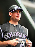 10 July 2011: Colorado Rockies third baseman Ty Wigginton stands in the dugout prior to facing the Washington Nationals at Nationals Park in Washington, District of Columbia. The Nationals shut out the visiting Rockies 2-0 salvaging the last game their 3-game series at home prior to the All-Star break. Mandatory Credit: Ed Wolfstein Photo