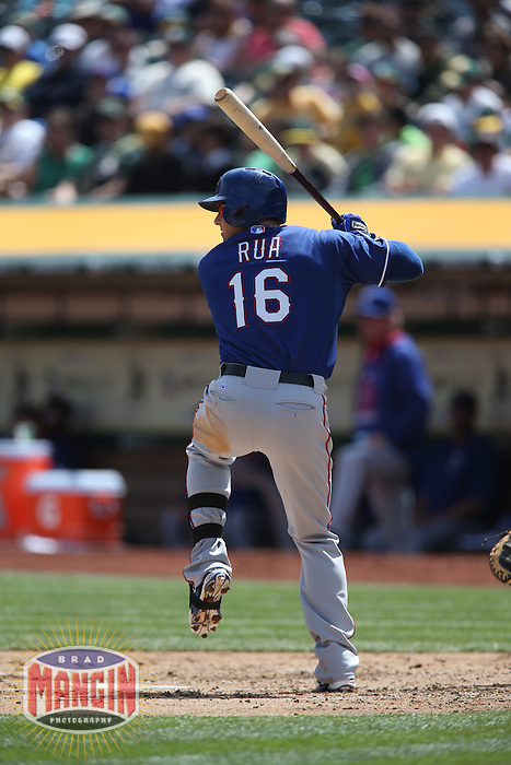 OAKLAND, CA - APRIL 9:  Ryan Rua #16 of the Texas Rangers bats against the Oakland Athletics during the game at O.co Coliseum on Thursday, April 9, 2015 in Oakland, California. Photo by Brad Mangin