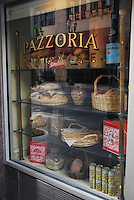 USA, Oregon, Pazzoria Bakery & Cafe window display in northwest Portland.