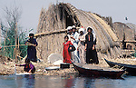 Marsh Arabs. Southern Iraq. Circa 1985. Marsh Arab family on traditional reed island called a dibin or kibasha.