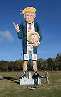 Effigy of Donald Trump in Edenbridge on this year's Bonfire Night on 5th November. Edenbridge, Kent, England, November 02, 2016.<br />