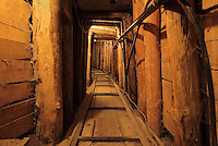 Inside the Sarajevo Tunnel or Tunel Spasa, built May 1992 - November 1995 during the Siege of Sarajevo during the Yugoslav War by the Bosnian army, to link the besieged Sarajevo city to Bosnian and UN held areas outside the city, Sarajevo, Bosnia and Herzegovina. Arms, food and humanitarian aid passed through the tunnel, and people could also escape the city. The building and tunnel are now preserved as the Sarajevo Tunnel Museum. Picture by Manuel Cohen