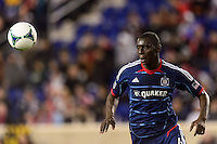 Bakary Soumare (4) of the Chicago Fire. The New York Red Bulls defeated the Chicago Fire 5-2 during a Major League Soccer (MLS) match at Red Bull Arena in Harrison, NJ, on October 27, 2013.