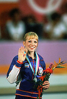 August 6, 1984; Los Angeles, California, USA; Artistic gymnastics star Julianne McNamara of USA wins silver on floor exercise event final at 1984 Los Angeles Olympics.  Copyright 1984 Tom Theobald.