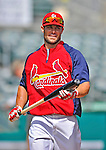 8 March 2012: St. Louis Cardinals' infielder Skip Schumaker awaits his turn in the batting cage prior to a Spring Training game against the Boston Red Sox at Roger Dean Stadium in Jupiter, Florida. The Cardinals defeated the Red Sox 9-3 in Grapefruit League action. Mandatory Credit: Ed Wolfstein Photo