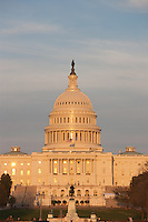 The late afternoon sun reflects off of the US Capitol Building, in Washington DC