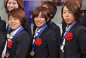 Aya Miyama (JPN), Nahomi Kawasumi (JPN), Azusa Iwashimizu (JPN), DECEMBER 27, 2011 - Football / Soccer : Aya Miyama, Nahomi Kawasumi and Azusa Iwashimizu of Japan attend Celebration party for FIFA Women's World Cup Champion at Tokyo Dome City in Tokyo, Japan. (Photo by Yusuke Nakanishi/AFLO SPORT) [1090]