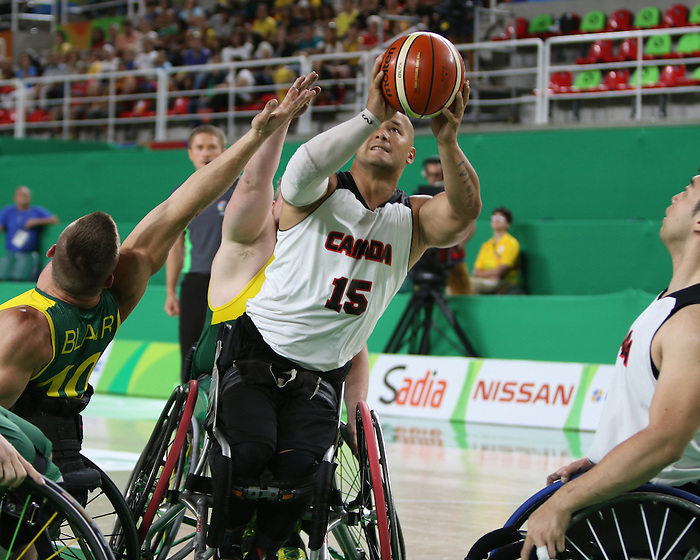 RIO DE JANEIRO - 09/10/2016 - The Canadian men's wheelchair basketball team face Australia in the preliminary rounds of the Rio 2016 Paralympic Games at the Olympic Arena. (Photo by Lindsay Crone/Wheelchair Basketball Canada)