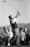 Craig Stadler tees off at Pebble Beach. (photo by Ron Riesterer 1984)