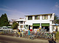 People renting bikes to ride around town in front of the Seaside Motel in Old Orchard Beach, Maine