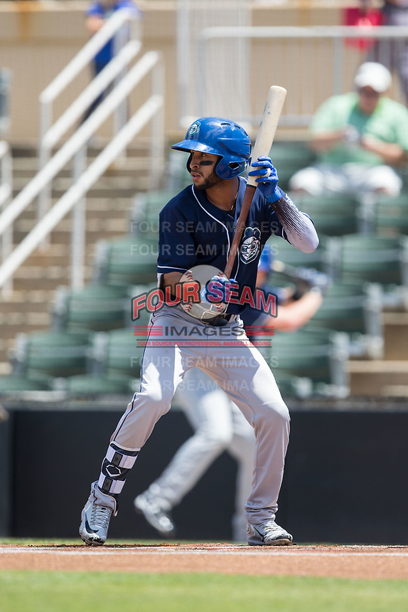 Carlos Herrera (2) of the Asheville Tourists shows bunt against the Kannapolis Intimidators at Kannapolis Intimidators Stadium on May 7, 2017 in Kannapolis, North Carolina.  The Tourists defeated the Intimidators 4-1.  (Brian Westerholt/Four Seam Images)