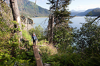 Stephanie Haynes hiking on the Saddle and Alpine Ridge trail in Kachemak Bay State Park, near Homer, Alaska.