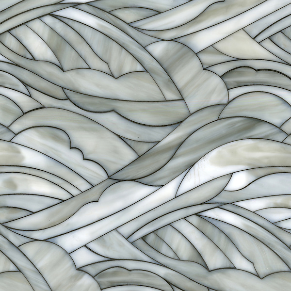Kelp Forest, a waterjet glass mosaic, shown in Alabaster.<br />