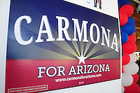 Tempe, Arizona. October 13, 2012 - Campaign materials like this one of current Arizona US Senate candidate Richard Carmona were available at a traditional political rally held in Tempe Arizona. Carmona is the former US Surgeon General and is challenging Congressman Jeff Flake. Hundreds of Arizona registered voters participated in a political rally where candidates for the US Senate, House of Representatives, state legislature, Maricopa County and other public offices pitched for votes for the upcoming general election. Photo by Eduardo Barraza © 2012
