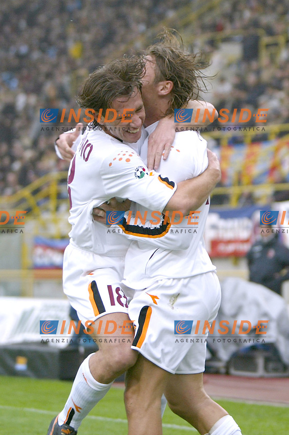 Bologna 23/11/2003 <br /> Bologna Roma 0-4 <br /> Francesco Totti abbracciato da Antonio Cassano in occasione del primo gol per la Roma<br /> Foto Andrea Staccioli Insidefoto