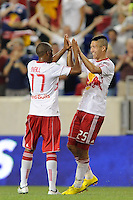 Connor Chinn (25) of the New York Red Bulls celebrates scoring with Jeremy Hall (17). The New York Red Bulls defeated the Colorado Rapids 3-0 during a U. S. Open qualifier match at Red Bull Arena in Harrison, NJ, on May 26, 2010.