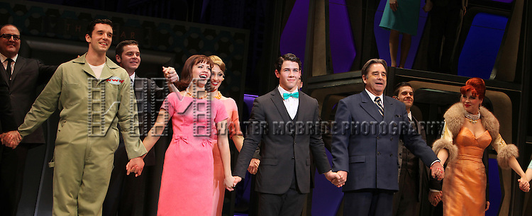 Michael Urie, Rose Hemingway, Nick Jonas, Beau Bridges, Tammy Blanchard & Mary Faber.during the Curtain Call for 'How To Succeed in Business...' as Nick Jonas & Michael Urie join Beau Bridges at the Al Hirshfeld Theatre in New York City on 1/24/2012