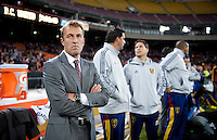 Real Salt Lake head coach Jason Kreis watches his team before the game at RFK Stadium in Washington, DC.  D.C. United defeated Real Salt Lake, 1-0.