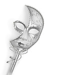 Beautiful silver Venetian mask isolated on white background