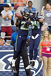Seattle Seahawks' free safety Earl Thomas (29) and cornerback Richard Sherman (25) celebrate an interception against Tennessee Titans' wide receive Damian Williams at CenturyLink Field in Seattle, Washington on August 11, 2012. 2012. Jim Bryant Photo. ALL RIGHTS RESERVED. ..