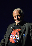 Former NASA astronaut Edwin BUZZ ALDRIN has a serious expression during conversation about his experiences in space and his new Children's  Middle Grade book Welcome to Mars: Making a Home on the Red Planet. After the talk at the jetBlue Sky Theater Planetarium at Long Island's Cradle of Aviation Museum, Aldrin signed copies of his new book. Aldrin is wearing his Destination MARS shirt. On the 1969 Apollo 11 mission, Buzz Aldrin was the second person ever to walk on the Moon, and his first trip to space was the 1966 Gemini 12.