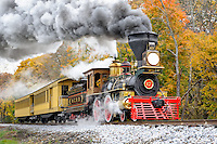 Antique steam train against fall foliage, 1860's period locomotive and passenger cars built to recreate President Lincoln's funeral train.