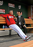 30 March 2008: Washington Nationals' Manager Manny Acta is interviewed prior to the Opening Day Game against the Atlanta Braves at Nationals Park in Washington, DC. The Nationals christened their  new ballpark with a win over the visiting Braves 3-2 in the inaugural game of the state-of-the-art sports facility...Mandatory Photo Credit: Ed Wolfstein Photo