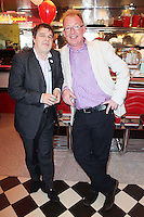 "NO REPRO FEE. 26/5/2011. NEW EDDIE ROCKET'S SHAKE SHOP. Tony O Brien and Peter Fortune are pictured in the new Eddie Rocket's Shake Shop. The design seeks to recall the vintage milkshake bars from 1950's America and re-imagine them for the 21st century. The new look aims to appeal to both young and old with a quirky and bold colour scheme and a concept of make-your-own milkshakes, based on the tag line ""You make it...We shake it!"". Eddie Rocket's City Diner in the Stillorgan Shopping Centre in south Dublin has re-opened after an exciting re-vamp and the addition of a Shake Shop. Ten new jobs have been created with the Diner's re-launch bringing the total working in Eddie Rocket's Stillorgan to 30. Picture James Horan/Collins Photos"