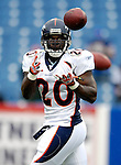 9 September 2007: Denver Broncos running back Travis Henry warms up prior to facing the Buffalo Bills at Ralph Wilson Stadium in Buffalo, NY. The Broncos defeated the Bills 15-14 in the opening day matchup...Mandatory Photo Credit: Ed Wolfstein Photo
