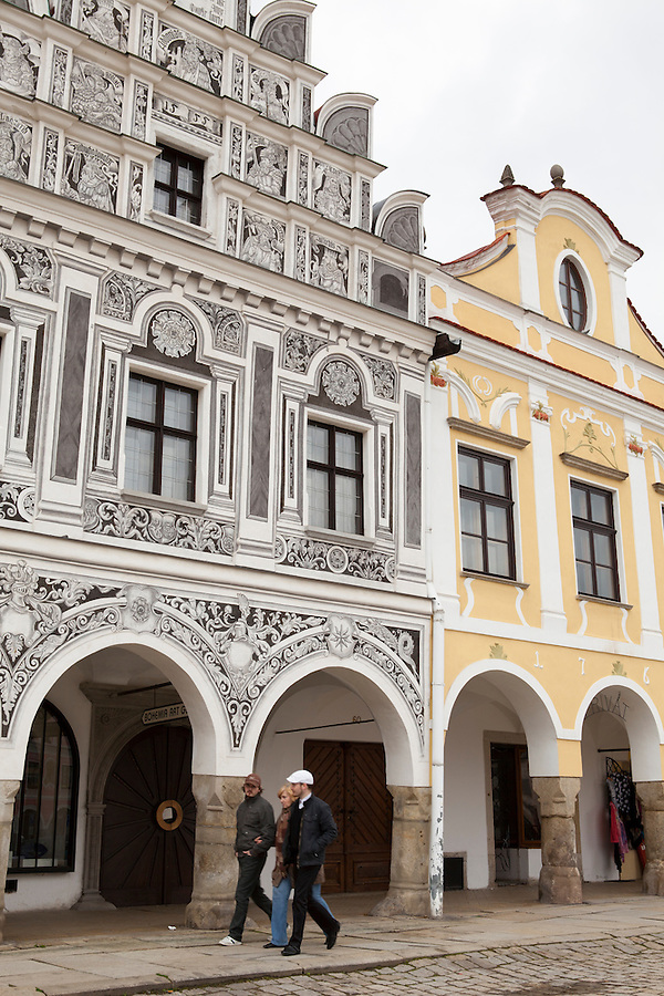 Colorful and ornate building facades in Slavonice, Czech Republic, Europe
