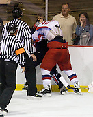 Georgy Berdyukov (Russia - 21), Kyle Palmieri (US - 18) - Team USA defeated Team Russia 6-0 in their final game during the 2009 USA Hockey National Junior Evaluation Camp on Saturday, August 15, 2009, in the USA (NHL-sized) Rink in Lake Placid, New York.