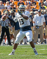 Akron quarterback Tommy Woodson. The Akron Zips Defeated the Pitt Panthers 21-10 at Heinz Field, Pittsburgh. Pennsylvania on September 27, 2014.