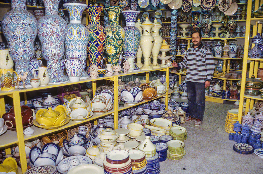 Ceramics, Nabeul, Tunisia.  Pottery Shop.  Dishware, Garden Jars for Domestic Market.