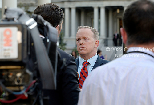 White House Press Secretary Sean Spicer apologizes for comments he made during his daily briefing related to Hitler during a TV interview at the White House in Washington, DC, April 11, 2017.<br /> Credit: Olivier Douliery / Pool via CNP