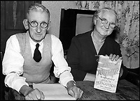 BNPS.co.uk (01202 558833)<br /> Pic: MarkHillier/Pen&amp;Sword/BNPS<br /> <br /> Fred Massey, Colin&rsquo;s sick-berth attendant at Barrow Gurney whilst recuperating after losing his legs, pictured with his wife and a copy of the first edition of Colin&rsquo;s book.<br /> <br /> he remarkable story of a British hero double amputee pilot who took to the skies during the Second World War has come to light.<br /> <br /> Flight Lieutenant Colin Hodgkinson lost his legs in a horror crash in a Tiger Moth in May 1939 but went on to emulate Sir Douglas Bader and fly Spitfires in the Royal Air Force.<br /> <br /> He even endured a spell in the Great Escape prisoner of war camp after being shot down over France in 1943 but rejoined the RAF after being repatriated.<br /> <br /> The pair were the only two British double amputee pilots to fly during the war - yet while Bader, rightly, is a household name, Flt Lt Hodgkinson's exploits have been largely forgotten.<br /> <br /> This has prompted historian Mark Hillier to publish Flt Lt Hodgkinson's autobiography 60 years after it was penned which he hopes will shine some limelight on a 'special' man whose courage he says was every bit as great as Baders'.<br /> <br /> Best Foot Forward, by Colin Hodgkinson, is published by Pen &amp; Sword.