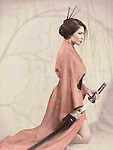 Beautiful asian woman in red kimono kneeling with an unsheathed katana sword. Vintage stylized photo.