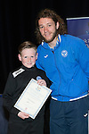 St Johnstone FC Youth Academy Presentation Night at Perth Concert Hall..21.04.14<br /> Stevie May presents to Logan Thoms<br /> Picture by Graeme Hart.<br /> Copyright Perthshire Picture Agency<br /> Tel: 01738 623350  Mobile: 07990 594431