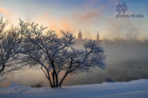 December 19, 2016; St. Joseph Lake on a below zero temperature morning. (Photo by Matt Cashore/University of Notre Dame)