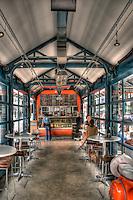 Coffee Shop, Third Street Promenade, Downtown,  stores, shopping, street mall; beach community, retail stores, open-air, Santa Monica; CA; High dynamic range imaging (HDRI or HDR)
