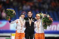 SCHAATSEN: HEERENVEEN: Thialf, Essent ISU World Single Distances Championships 2012, Podium 1500m Ladies, Ireen Wüst (NED, Christine Nesbitt (CAN), Linda de Vries (NED), ©foto Martin de Jong