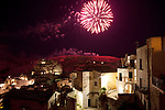 Fireworks in Matera, Basilicata, Italy, Europe