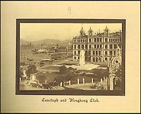 BNPS.co.uk (01202 558833)<br /> Pic: Tooveys/BNPS<br /> <br /> Cenotaph and Hongkong club.<br /> <br /> A fascinating set of early images of Hong Kong long before it became the metropolis it is today have surfaced. <br /> <br /> The black and white photographs dating to the early 20th century depict a region unrecognisable to what stands today. <br /> <br /> There are several shots of natives walking down packed low-rise streets while a number of others picture primitive sailing boats. <br /> <br /> The collection was compiled by adventurous British photographer Denis H. Hazell, who took each of the 26 postcard-like photos.