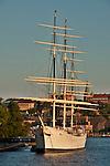 The famous boat that is a hostel, af Chapman Vandrarhem, in Stockholm, Sweden