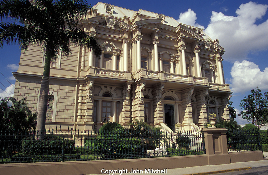 The Palacio Canton on Paseo de Montejo in Merida, Yucatan, Mexico. This mansion dates back to the early 1900's. It now houses a regional archaeological museum, the Museo Regional de Antropologia.