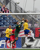 Brazilian goalkeeper Andreia (1) punches out corner kick. In an international friendly, Canada defeated Brasil, 2-1, at Gillette Stadium on March 24, 2012.