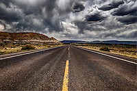 New Mexico highway 197 as it passes Mesa de Cuba in the San Juan Basin of northwestern New Mexico.