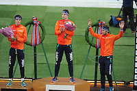 SPEED SKATING: HAMAR: Vikingskipet, 04-03-2017, ISU World Championship Allround, Podium 5000m Men, Patrick Roest (NED), Sven Kramer (NED), Jan Blokhuijsen (NED), ©photo Martin de Jong