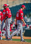 15 March 2016: Washington Nationals pitcher Lucas Giolito leaves the game in the 8th inning of  a Spring Training pre-season game against the Houston Astros at Osceola County Stadium in Kissimmee, Florida. The Nationals defeated the Astros 6-4 in Grapefruit League play. Mandatory Credit: Ed Wolfstein Photo *** RAW (NEF) Image File Available ***